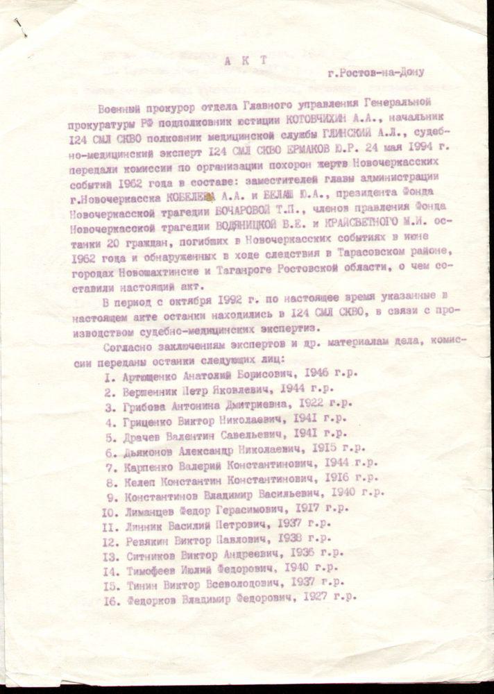 Акт судебно-медицинской лаборатории о передаче 20 останков. 24.05.1994 г.