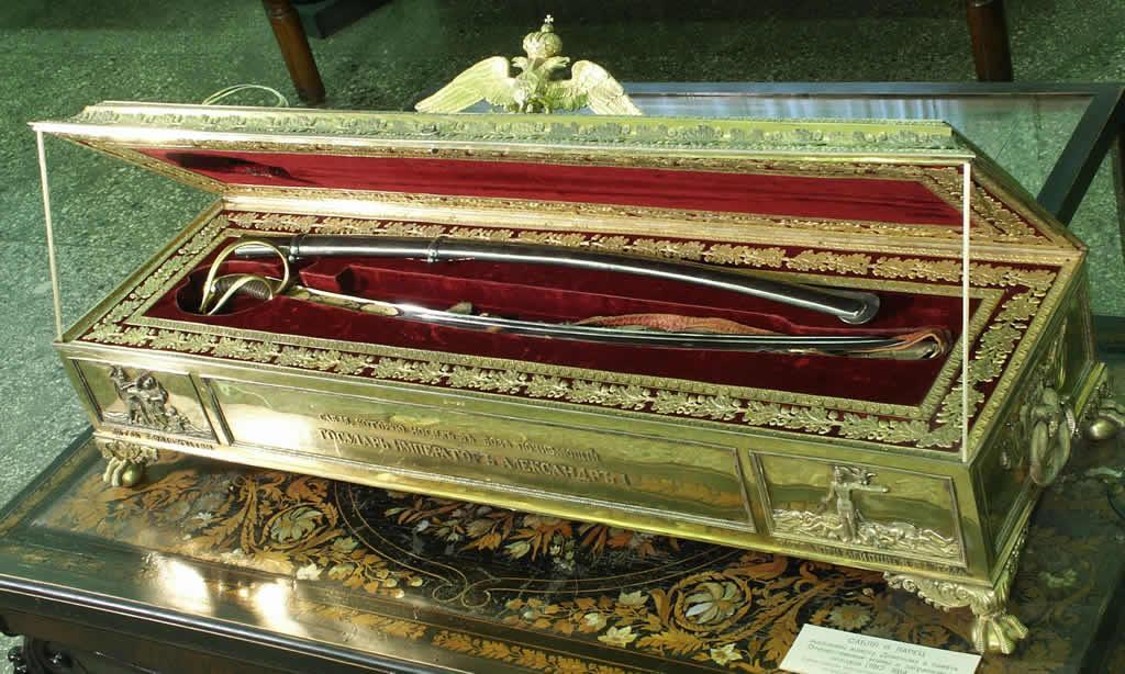 Сабля Александра I в серебряном ларце