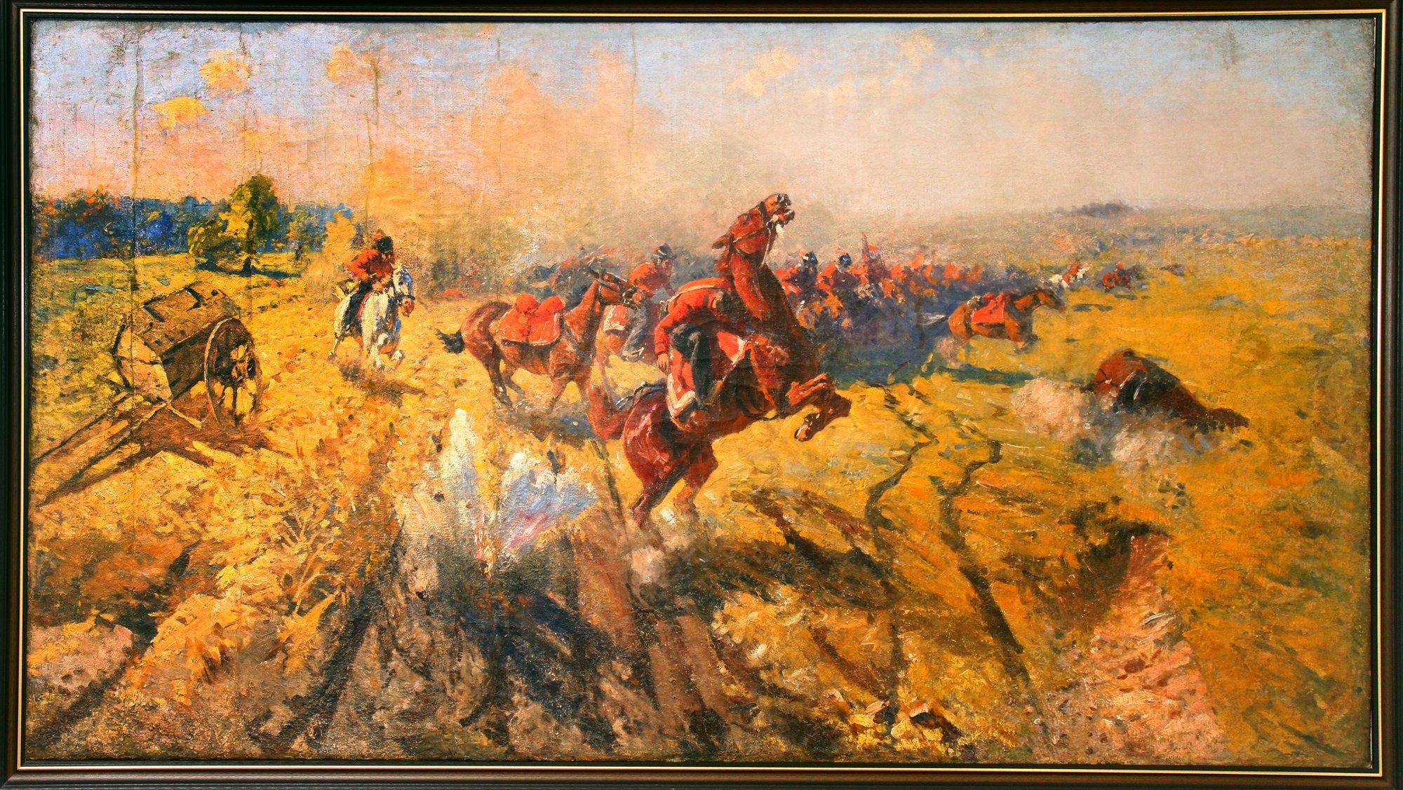 Важное место в экспозиции Дома-музея М.Б.Грекова занимает картина «Лейб-гвардии казачий полк в Бородинском сражении» 1912г.,х.,м.